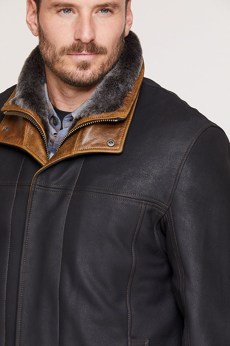 Jack Frost Leather Coat with Spanish Merino Shearling Lining - Big & Tall (48L-52L)