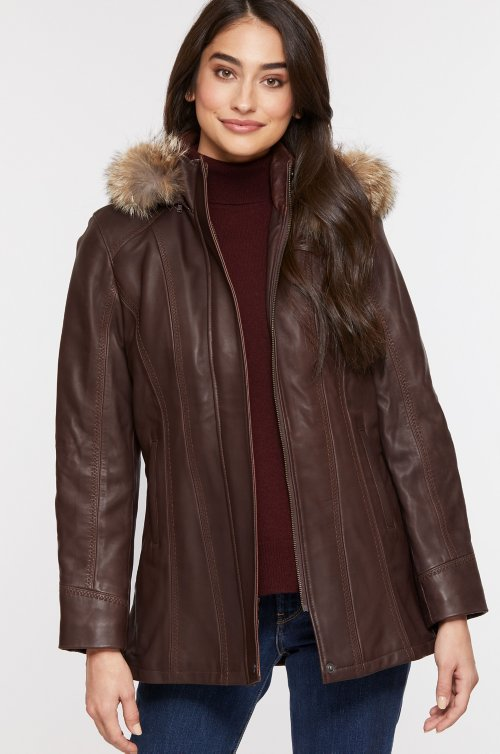 Dana African Lambskin Leather Coat with Coyote Fur Trim and Detachable Hood