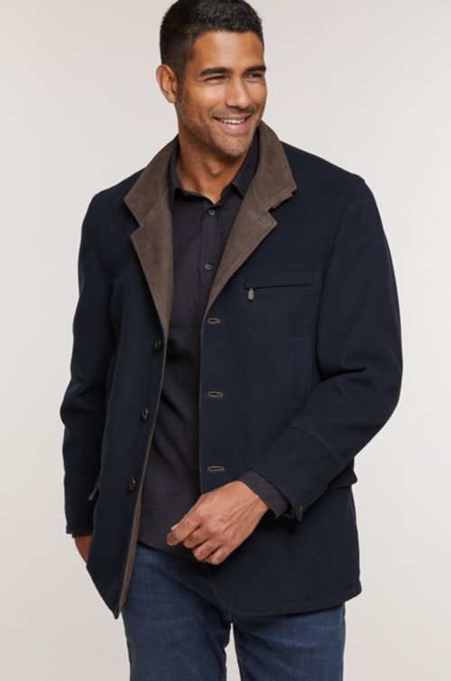 Albatross Wool and Cashmere Blazer with Leather Trim