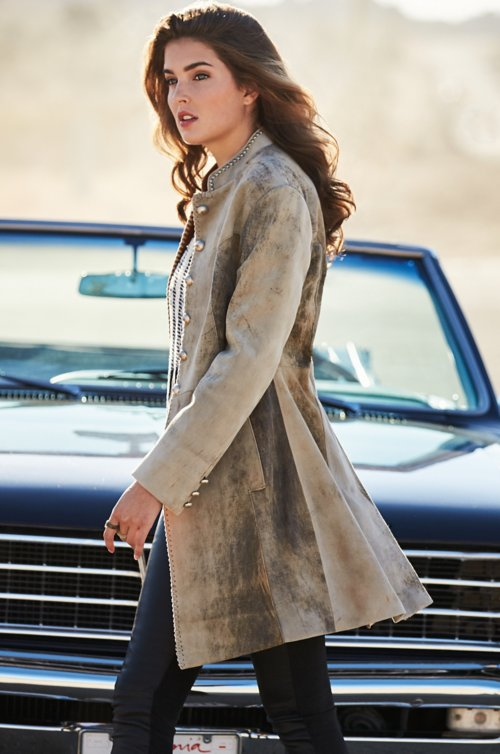 Zena Lambskin Suede Leather Frock Coat