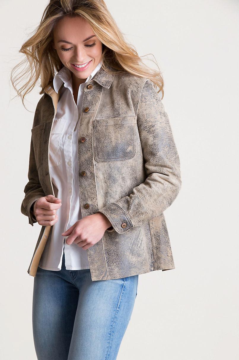 Coretta Reversible Lambskin Leather Shirt Jacket