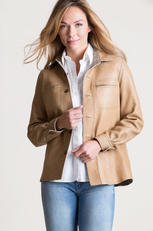 Shiloh Reversible Lambskin Suede Leather Shirt Jacket