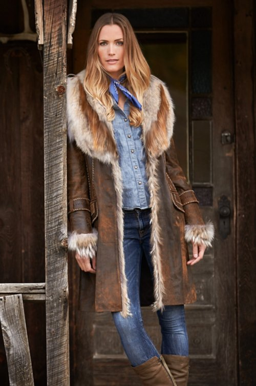 Georgia Distressed Lambskin Leather Coat with Coyote Fur Trim