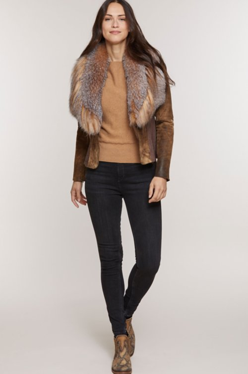 Savannah Distressed Lambskin Leather Jacket with Fox Fur Trim and Goat Hair Collar