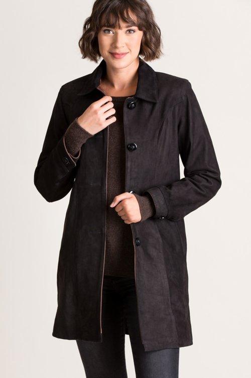 Simone Italian Nubuck Lambskin Leather Coat