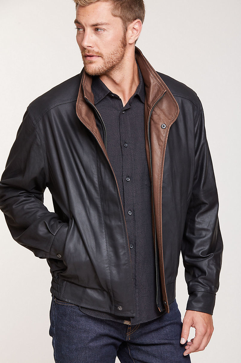 Landon Lambskin Leather Bomber Jacket