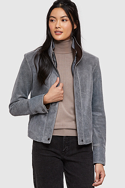 Rita Distressed Lambskin Leather Bomber Jacket