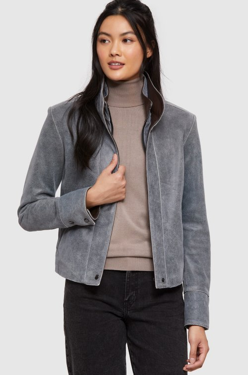 Rita Distressed Lambskin Leather Jacket