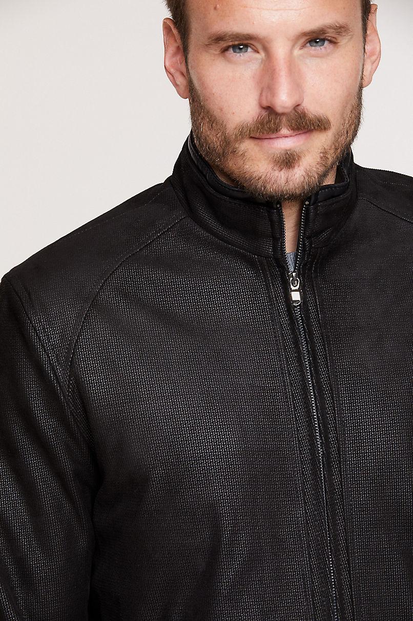 Zachary Embossed Italian Lambskin Leather Jacket