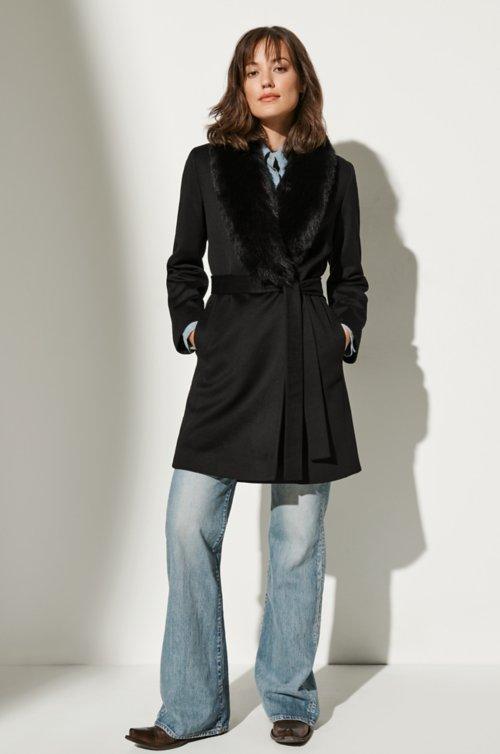 Gillian Loro Piana Wool Coat with Fox Fur Trim