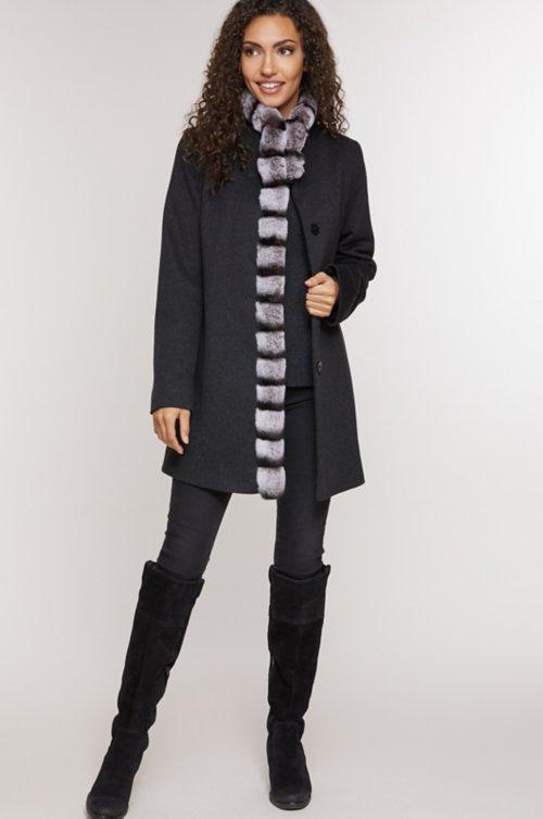 Vivian Loro Piana Wool Coat with Rex Rabbit Fur Trim