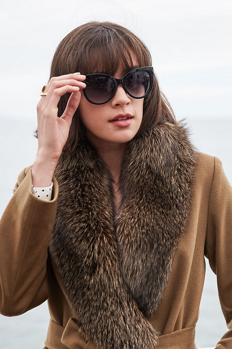 Carrie Loro Piana Wool Coat with Fox Fur Trim