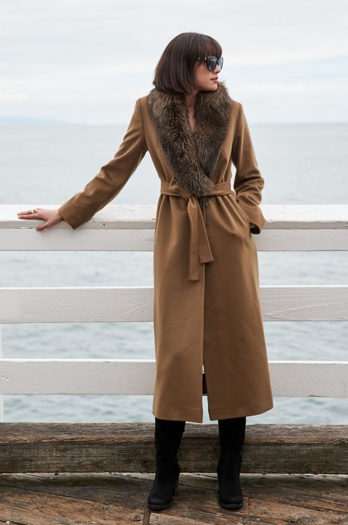 Carrie Loro Piana Wool Coat with Fox Fur Trim