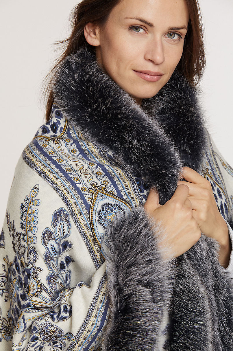 Amy Wool and Cashmere Shawl with Blue Fox Fur Trim