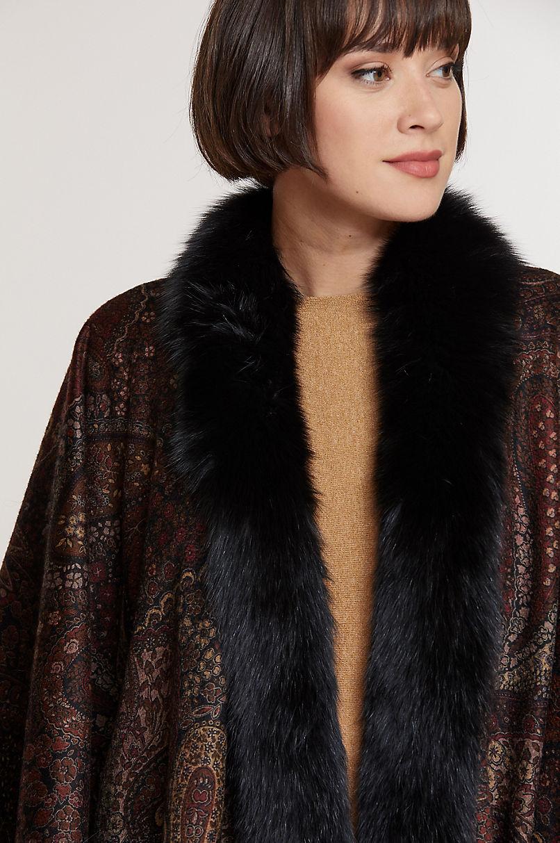 Miranda Cashmere Cape with Fox Fur Trim