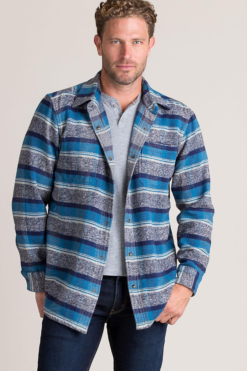 Gemini Reversible Plaid and Striped Shirt Jacket