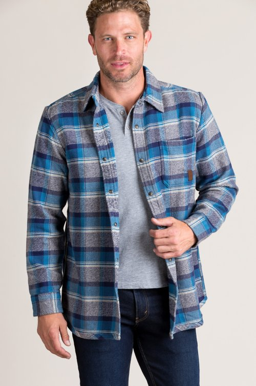 Gemini Reversible Plaid and Striped Shirt Jacket