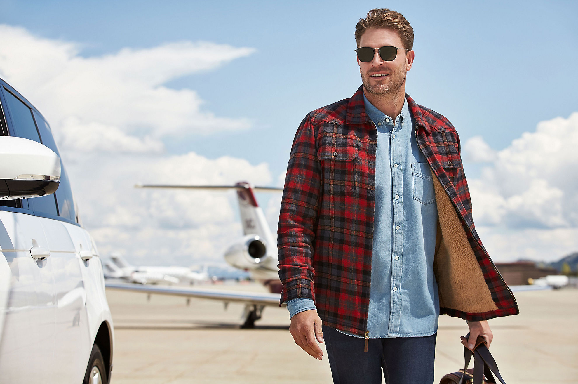 Nash Sherpa-Lined Cotton Flannel Shirt Jacket