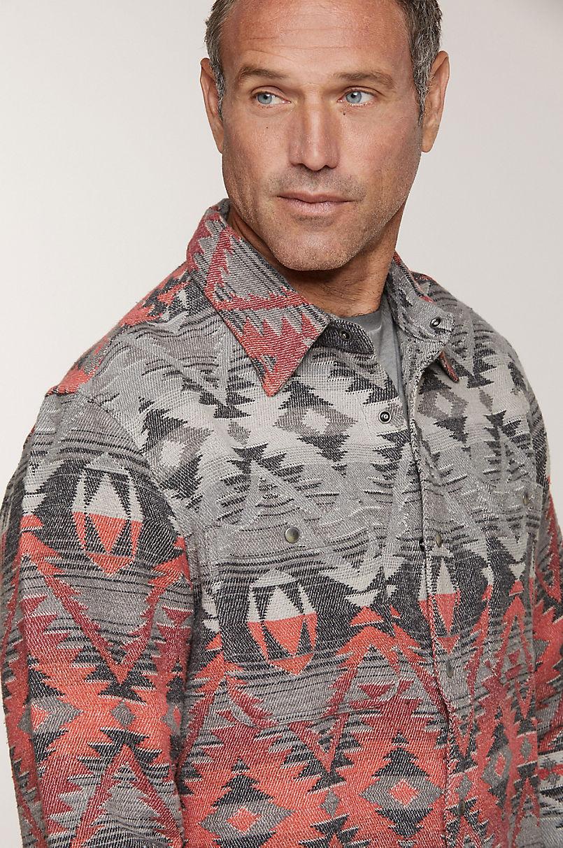 Addax Jacquard Cotton Western Shirt Jacket