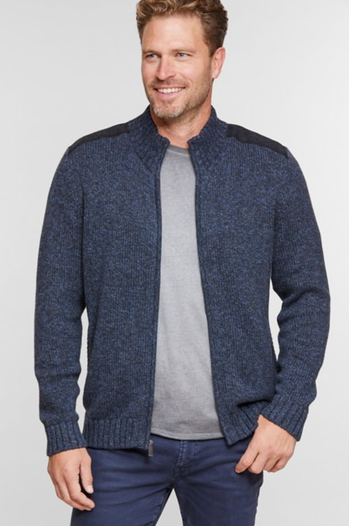 Tate Full Zip Marled Cotton Cardigan Sweater