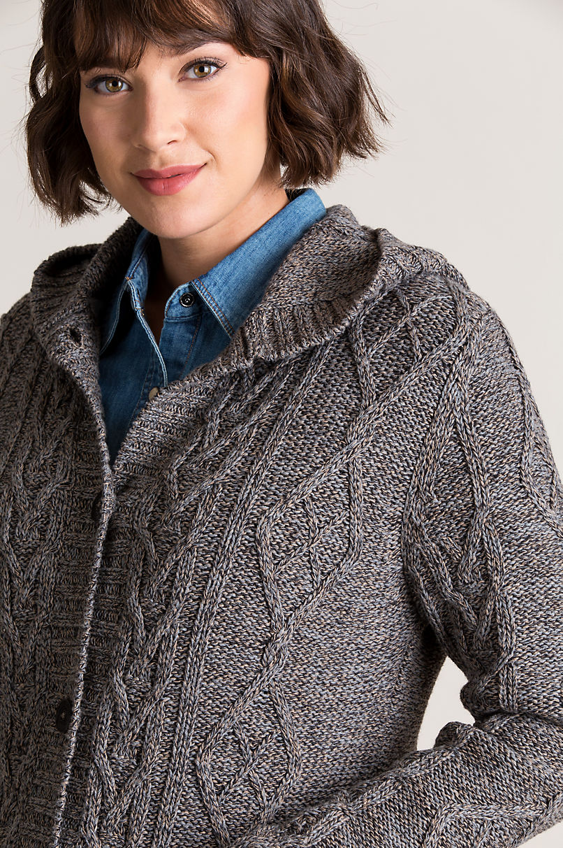 Tove Hooded Cable Knit Marled Cotton Cardigan Sweater