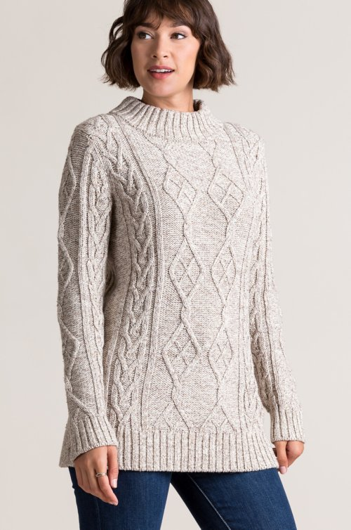 Tove Cable Knit Marled Cotton Pullover Sweater