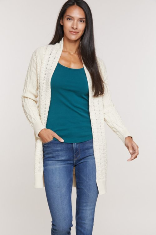 Meredith Cotton Pointelle Cardigan Sweater