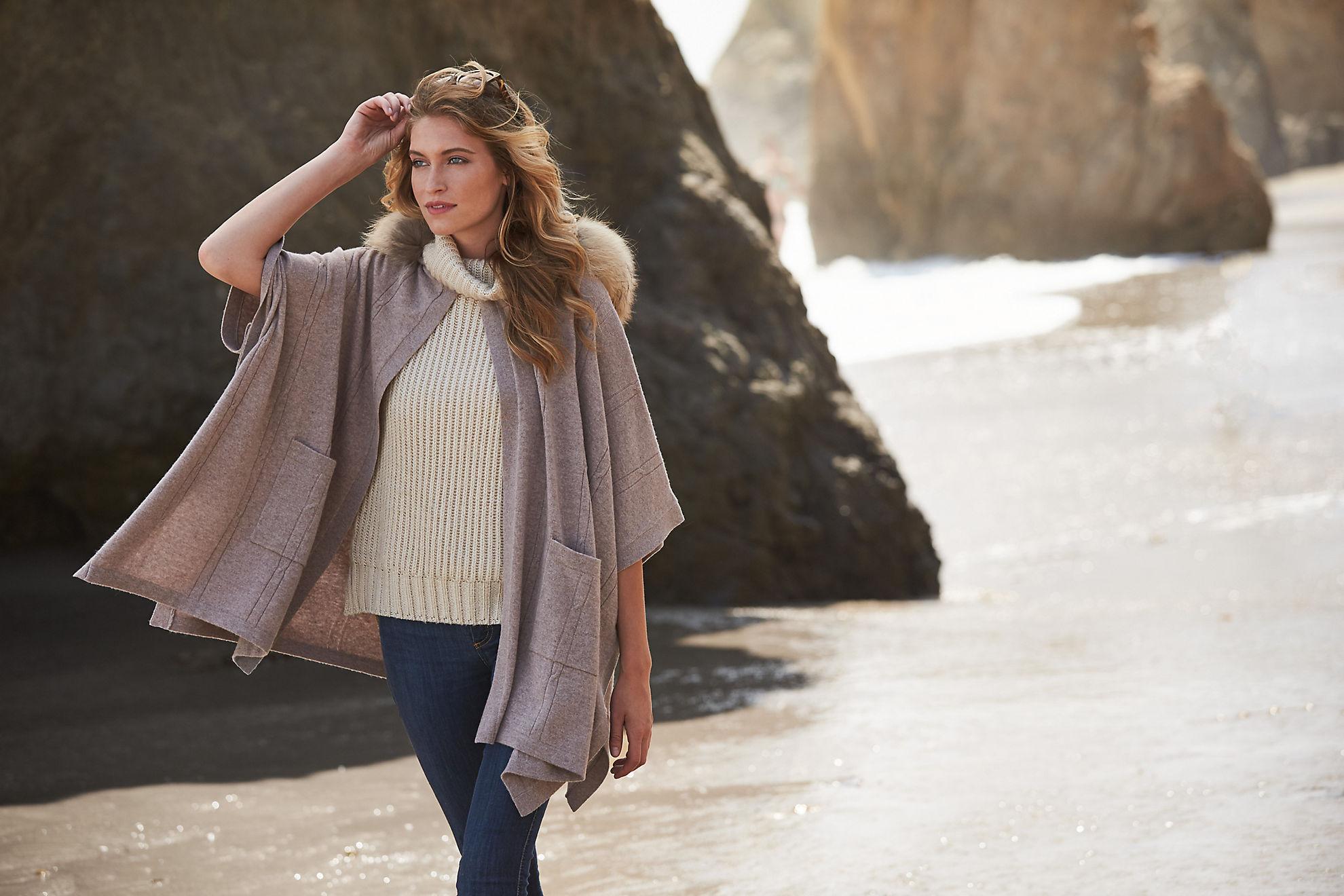 Eva Cashmere Hooded Sweater Cape with Detachable Raccoon Fur Trim