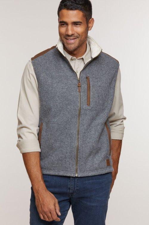 Holden Italian Wool-Blend Fleece Vest with Leather Trim