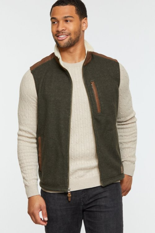Holden Italian Wool-Blend Fleece Vest with Leather Trim