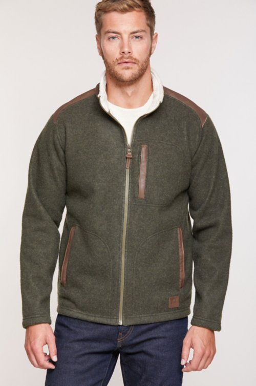 Holden Italian Wool-Blend Fleece Jacket with Leather Trim