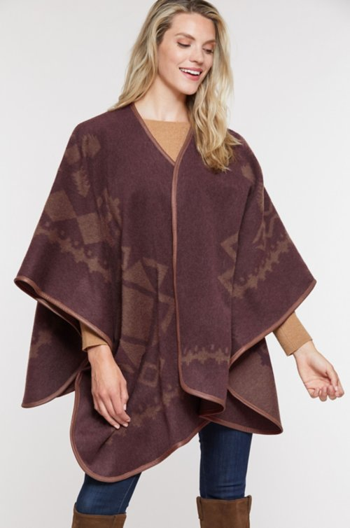 Mariana Leather-Trimmed Wool-Blend Blanket Cape