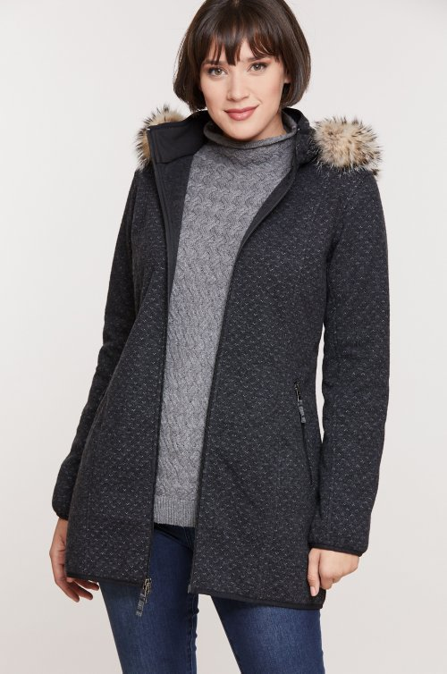 Ketchikan Italian Wool-Blend Coat with Badger Fur Trim and Detachable Hood