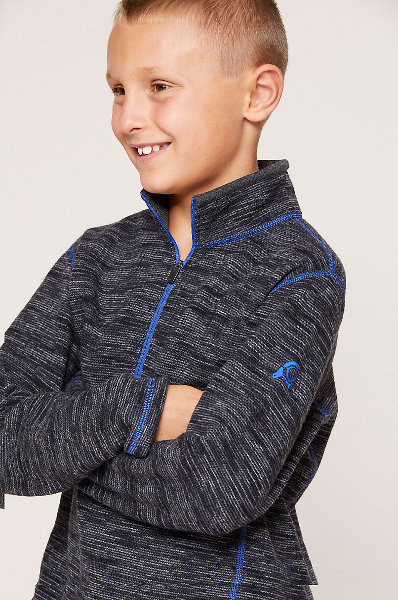 Boy's Adrian Wool-Blend Fleece 1/4-Zip Front Pullover Shirt