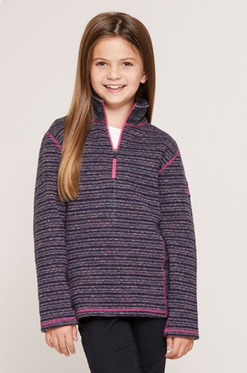 Girl's Willa Wool-Blend Fleece 1/4-Zip Front Pullover Shirt