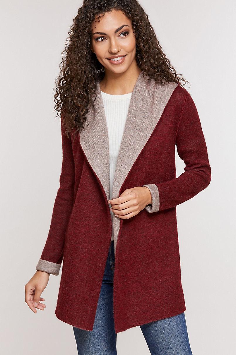 Essential Reversible Hooded Peruvian Baby Alpaca Wool-Blend Cardigan Sweater
