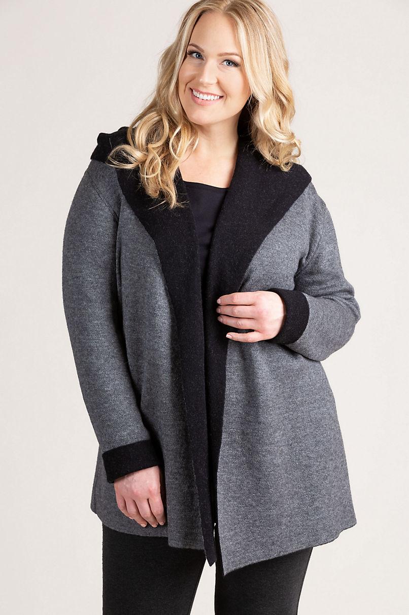 Essential Reversible Hooded Peruvian Alpaca Wool-Blend Cardigan Sweater - Plus (18-24)