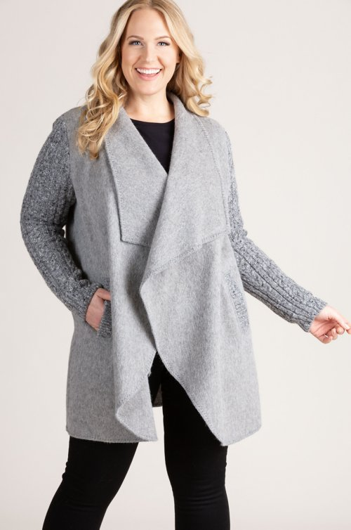 Belinda Peruvian Alpaca Wool-Blend Sweater-Sleeve Coat - Plus (18-24)