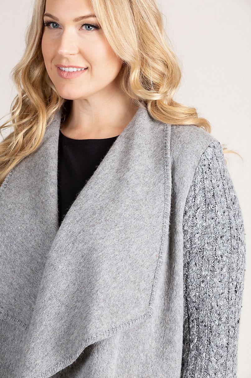 Belinda Peruvian Alpaca Wool-Blend Sweater-Sleeve Coat - Plus (18-24)