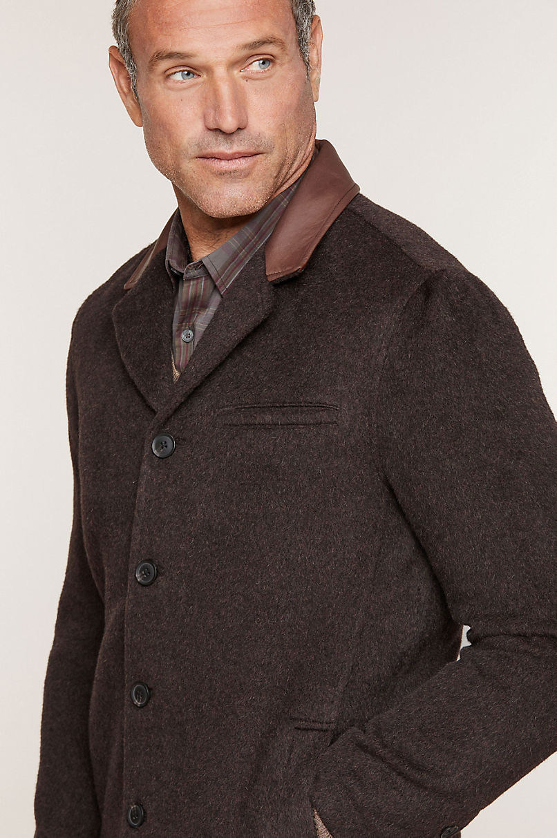 Theo Camel Wool-Blend Overcoat with Leather Trim