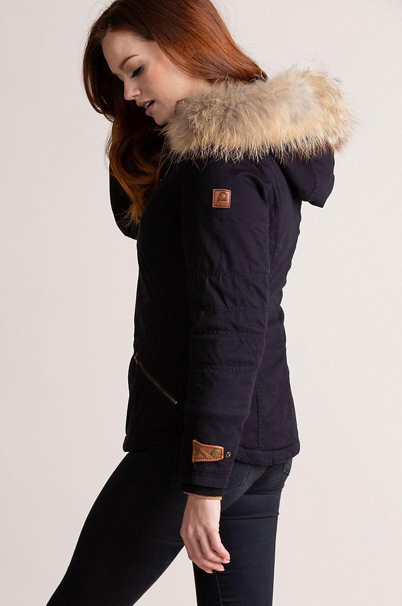 Aisling Cotton-Blend Jacket with Raccoon Fur Trim