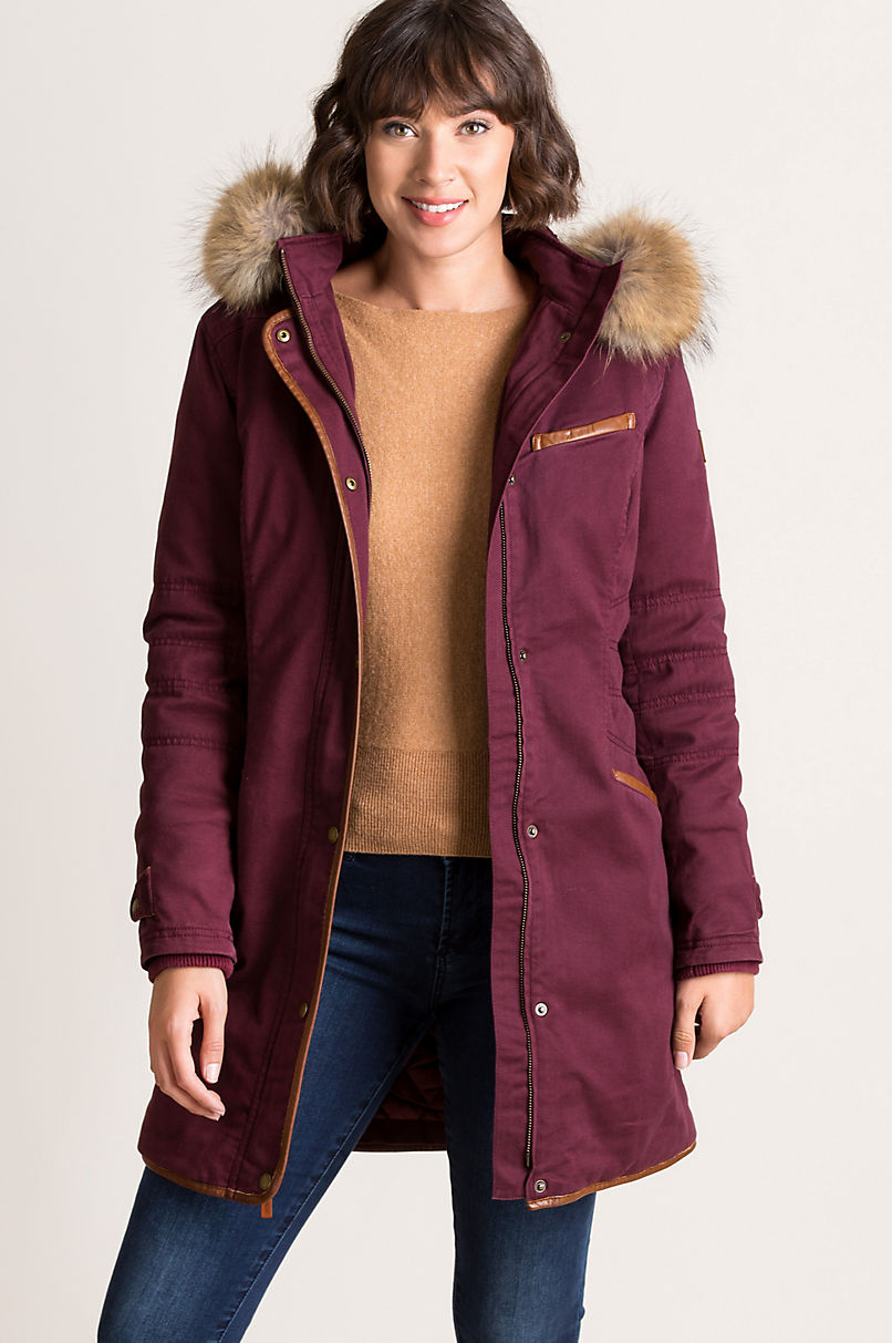 Aisling Cotton-Blend Parka with Raccoon Fur Trim