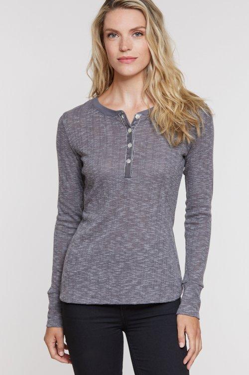 Peyton Knit Henley Shirt with Velvet Trim
