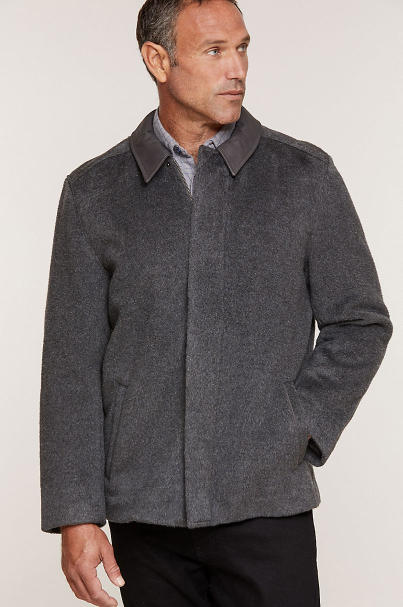 Vincent Wool-Blend Coat with Leather Trim
