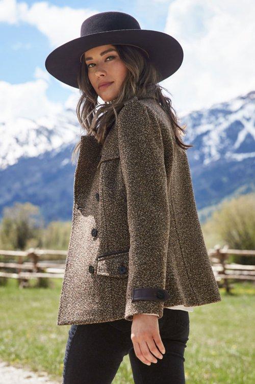Ellie Italian Wool Pea Coat with Leather Trim