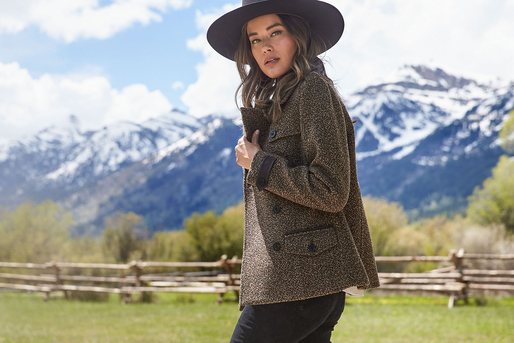 Ellie Italian Wool Pea Coat with Leather Trim