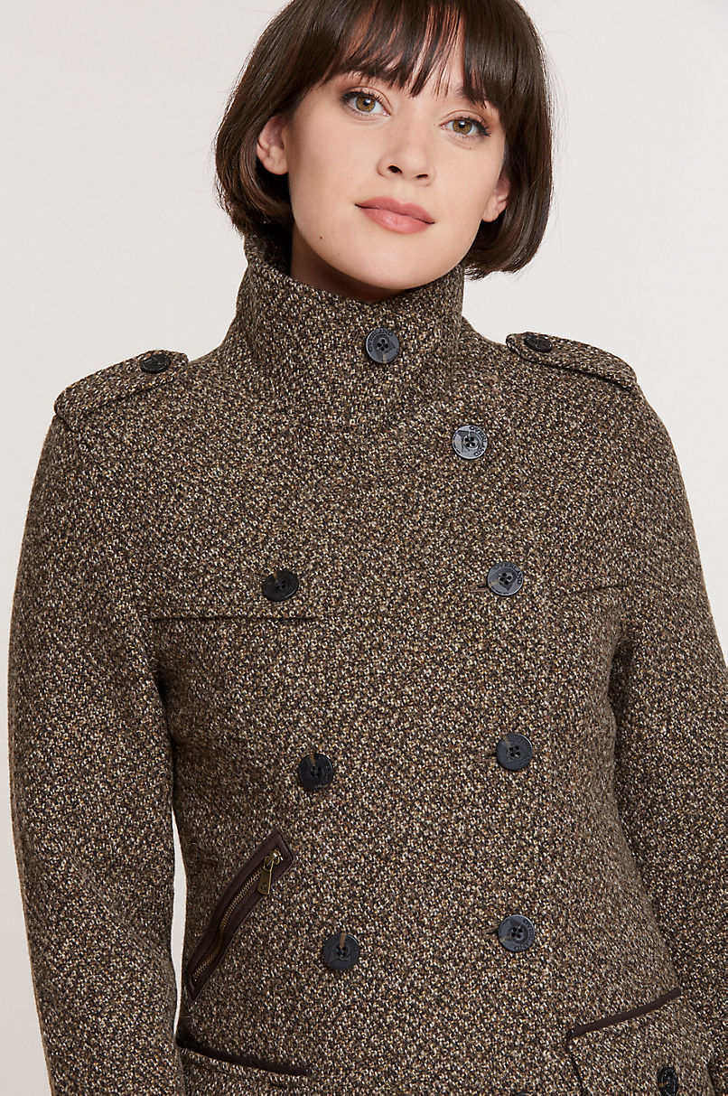 Ellie Virgin Italian Wool Pea Coat with Leather Trim