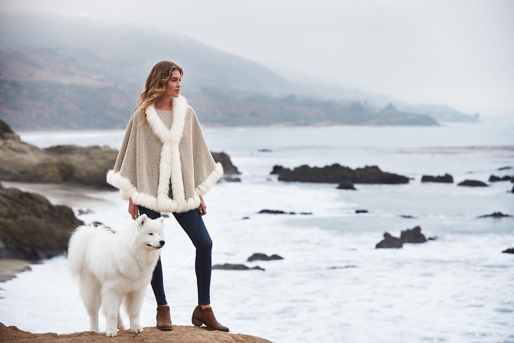 Bella Alpaca Wool Cape with Fox Fur Trim