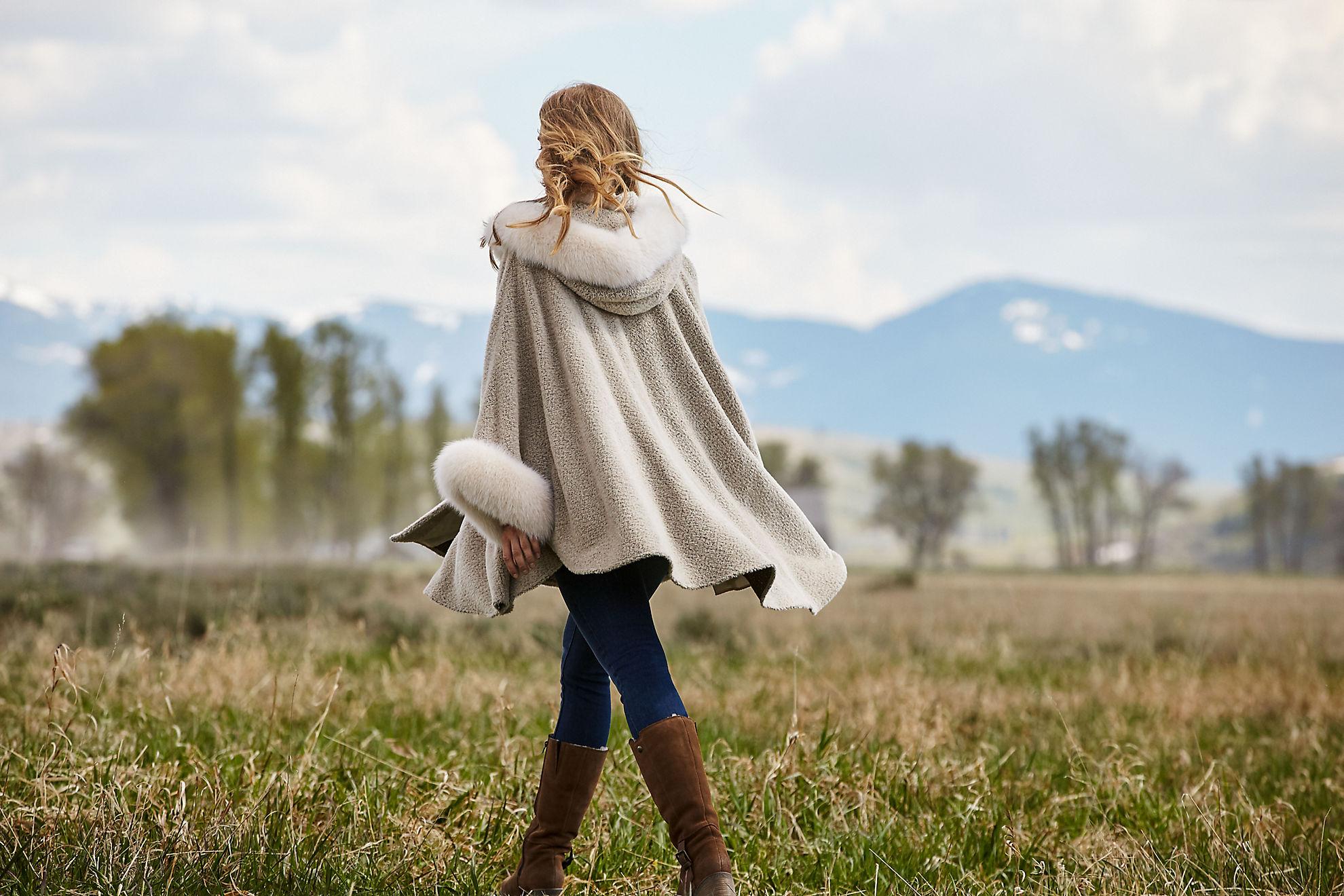 Skye Hooded Alpaca Wool-Blend Cape with Fox Fur Trim