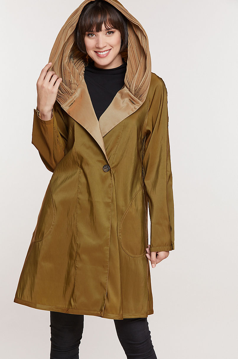 Donna Reversible Hooded Packable Raincoat Jacket